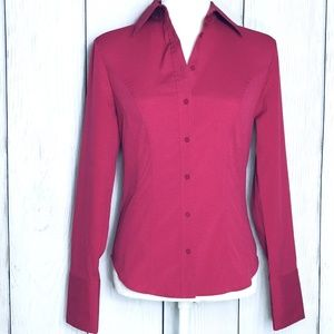 Express Stretch Dark Pink Long Sleeve Button Up